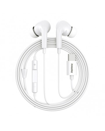 Handsfree ακουστικά Type C με ενσωματωμένο μικρόφωνο Remax AirPlus Pro (RM-533) λευκά
