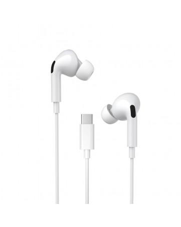 Handsfree ακουστικά Type C με ενσωματωμένο μικρόφωνο WK Y31 λευκά