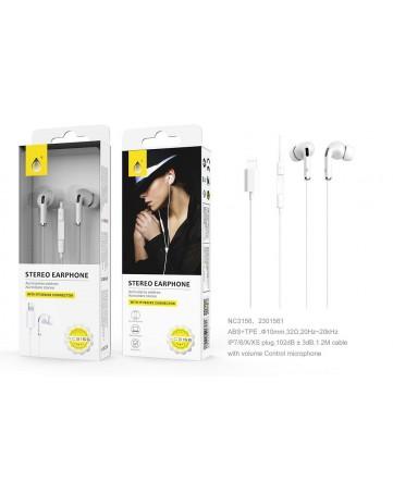 Ακουστικά handsfree Lightining για iphone One Plus NC3156 λευκά