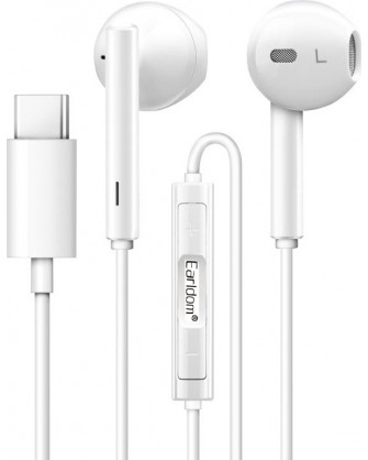 Handsfree ακουστικά Type C με ενσωματωμένο μικρόφωνο Earldom ET-E19 λευκά