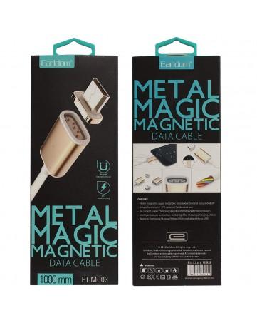 Μαγνητικό καλώδιο δεδομένων micro usb 1m Gold/Rose/White - Earldom ET-MC03