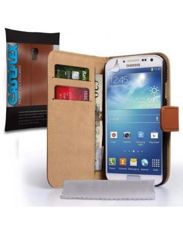 Δερμάτινη Θήκη CASEFLEX Stand Wallet Καφέ Και Μεμβράνη Προστασίας Οθόνης - S4