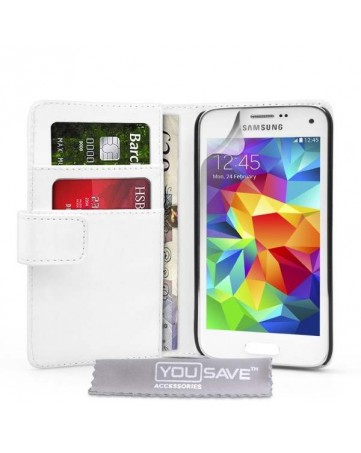 Δερμάτινη Θήκη PU Wallet Λευκή Και Μεμβράνη Προστασίας Οθόνης  - S5 Mini