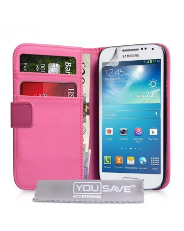 Δερμάτινη Θήκη PU Wallet Ροζ Και Μεμβράνη Προστασίας Οθόνης Σ - S4 Mini